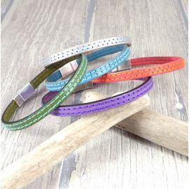 Kit bracelet cuir 2 coutures fermoir argent