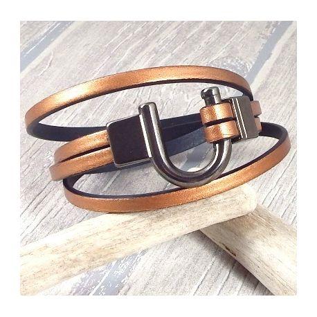 Kit bracelet cuir homme cuivre double et fermoir fer a cheval gun metal