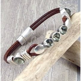 Kit bracelet cuir marron argent et cristal swarvoski