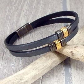 Kit bracelet cuir anthracite gun metal et or