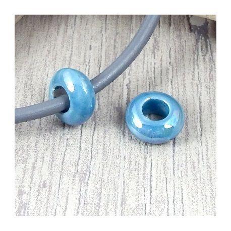 2 perles rondelles ceramique artisanale turquoise brillant cuir 5mm