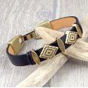 kit bracelet cuir verni noir boho passants bronze