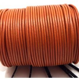 Cordon cuir rond 2mm rouille par 50cm
