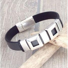 Kit bracelet cuir geometrique gris et argent homme