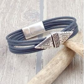 Kit bracelet cuir homme 5 lacets ethniques chic argent