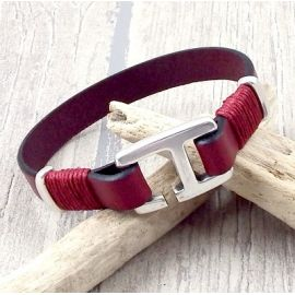 Kit bracelet cuir homme bordeaux fermoir crochet rectangle