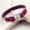 Kit bracelet cuir homme bordeaux fermoir crochet rectangle