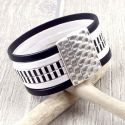 Kit bracelet cuir noir et blanc raye fermoir martele argent et son tutoriel