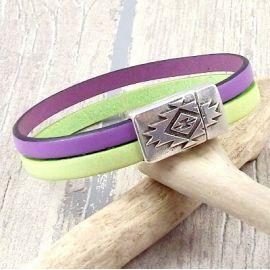 Kit bracelet cuir pastel mauve et vert fermoir argent style azteque