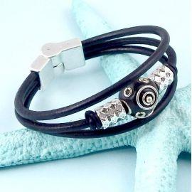 Kit bracelet cuir 3 cordons noir perles argent et kashmiri