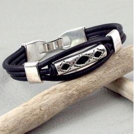 Kit bracelet cuir 3 cordons noir passant ethnique argent