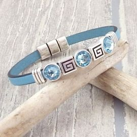 Kit bracelet cuir bleu ciel perles argent et cristal swarovski aqua