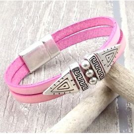 Kit bracelet cuir rose pastel ethnique argent