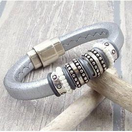 Kit bracelet cuir regaliz argent et perles rocaille