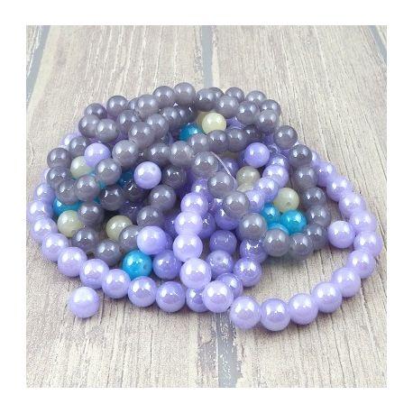 Lot de perles en verre gris, mauve, ivoire et turquoise 10mm 248 g