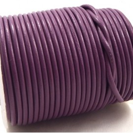 Cordon cuir rond 2mm lilas