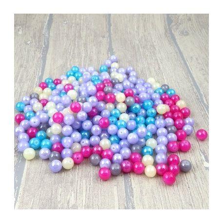 Lot de perles en verre multicolore irise 10mm