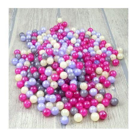 Lot de perles en verre multicolore irise 10mm 450 g