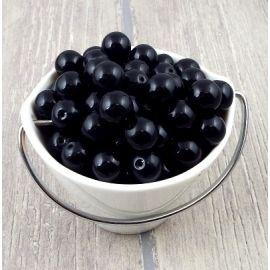 Lot de perles en verre noir brillant 12mm 247 grammes