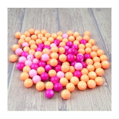 Lot de 462 g de perles rondes en verre 3 roses vifs