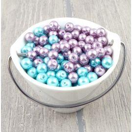 Lot de perles en verre nacrees turquoise et mauve 161 grammes 8mm