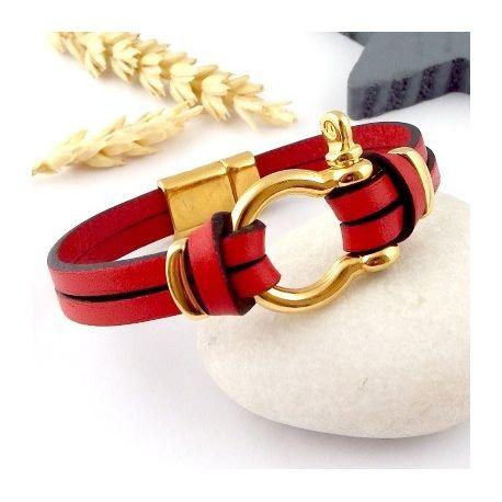 kit tutoriel bracelet cuir rouge et or manille 2990