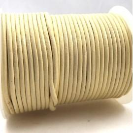 Cordon cuir rond 2mm crème