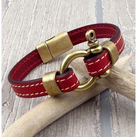 Kit bracelet cuir rouge coutures manille et fermoir bronze