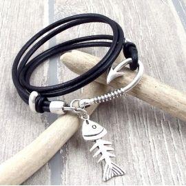 kit tutoriel bracelet cuir homme nautic noir fermoir crochet argent deux