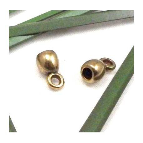 2 embouts cloche avec anneau pour cuir 5mm
