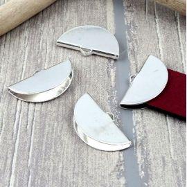 4 embouts arrondis pince argentes pour cuir plat 30mm