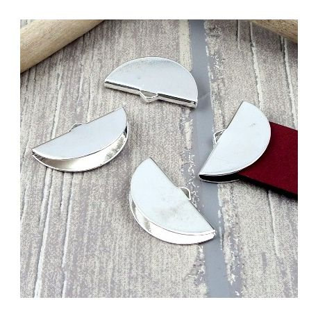 2 embouts fermoir plaque argent pour cuir plat 20mm