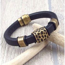 Kit bracelet cuir homme regaliz noir et bronze