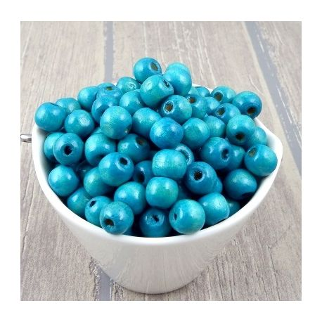 Lot de 600 perles rondes en bois turquoise