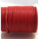 Cordon cuir rond 2mm rouge