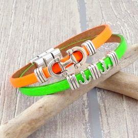 Kit bracelet cuir vert fluo et argent