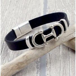 Kit bracelet cuir homme noir mors et fermoir argent