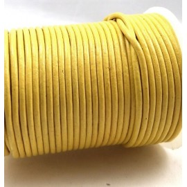 Cordon cuir rond 2mm jaune