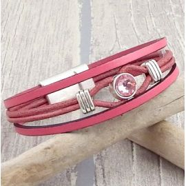 Kit tutoriel bracelet cuir rose antique cristal swarovski avec perles et fermoir plaque argent