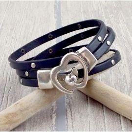 Kit tutoriel bracelet cuir turquoise fermoir coeur