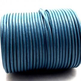 Cordon cuir rond 2mm bleu ciel