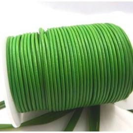 Cordon cuir rond 2mm vert vif