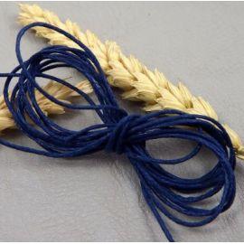 cordon coton legerement cire bleu 1mm par 10 metres