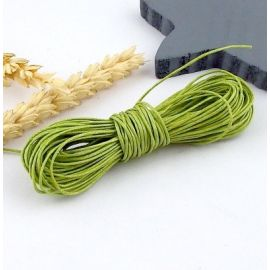 cordon coton legerement cire vert pistache 1mm par 10 metres