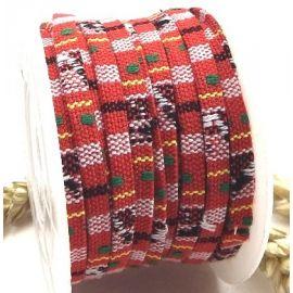 Cordon coton ethnique plat rouge 5mm par 20cm