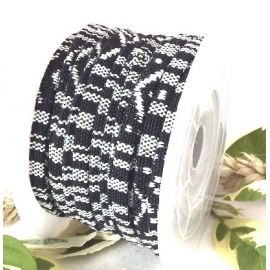 Cordon coton ethnique plat noir et blanc 5mm par 20cm