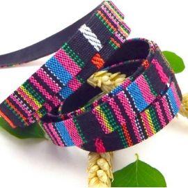 cordon coton inca plat 10mm fuchsia et noir par 20cm