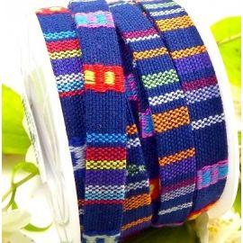 cordon coton ethnique bleu marine 10mm par 20cm