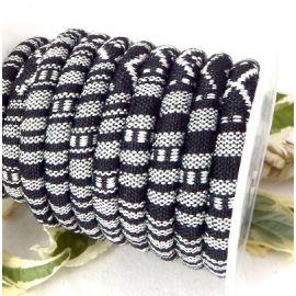 cordon coton ethnique noir et blanc 6.5mm par 20cm