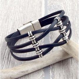 Kit bracelet cuir gris croise ethnique chic argent avec tutoriel